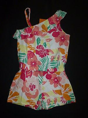 NWT Gymboree Hop N Roll Tropical Floral Girls One Shoulder Romper Sunsuit 10
