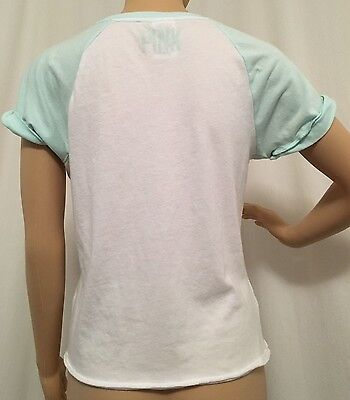 Victoria's Secret PINK Roll-Up Short Sleeve Graphic Tee Top T-Shirt Size Small S