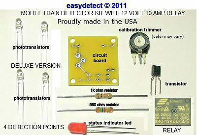 Deluxe Bi Directional O Scale Model Train Detector Kit With 12 Volt Relay