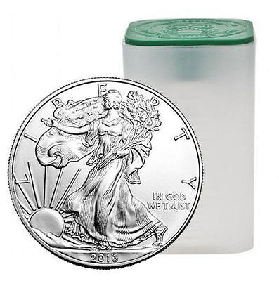 1 Roll of 20 - 2016 Brilliant Uncirculated American Silver Eagle $1 Coins