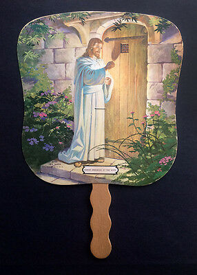 Vintage funeral home fan advertising Christ Knocking at the Door - ND