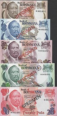 Botswana 1 to 20 Pula  ND. 1979 P 1s to P 5s Specimen Set Uncirculated Banknote