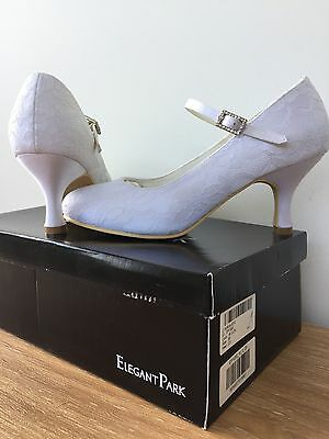 Lace Covered White Wedding/Formal Shoes Size 5