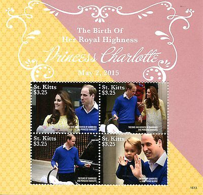 St Kitts 2015 MNH Princess Charlotte Birth Royal Baby 4v M/S William Kate Stamps