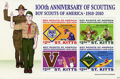 St Kitts 2010 MNH Scouting 100th Anniv Boy Scouts America 4v M/S I Cubs Stamps