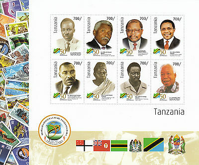 Tanzania 2011 MNH Independence 50 Yrs 8v M/S Presidents Kambarage Nerere Stamps