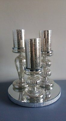Set of 3 Glass LED Candles & Holders for HIRE, Wedding, Centerpiece.