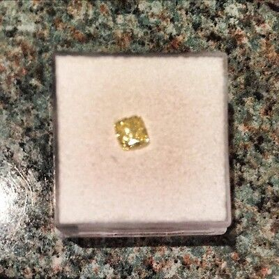 Diamond NATURAL FANCY YELLOW Modified Square Brilliant Cut GIA Cert 0.53ct VS1