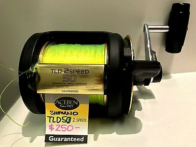 SHIMANO TLD 50 TWO SPEED lever drag Game Reel, great condition works well X32869