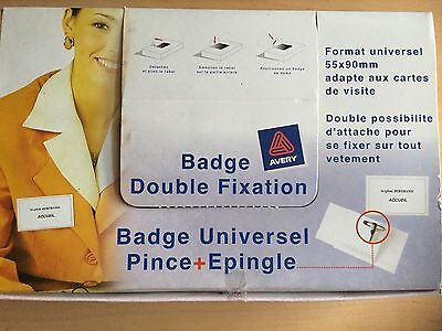 Lot de 49 Badges universels - AVERY - 90 x 55 mm - Double fixation ! Neufs !
