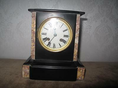 A Victorian Black Marble Cased 8 Day Mantle Clock