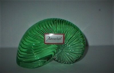 BACCARAT French Crystal Glass Nautilus Shell Paperweight Light Green