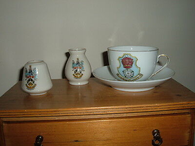 Vintage China Cup & Saucer & Two Urns All Crested 'lowestoft' -  Good Condition