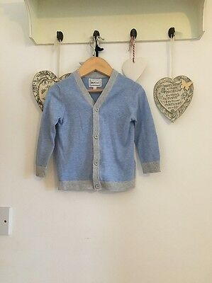 Boys Light Blue And Grey Long Sleeved Cardigan From Blue Zoo Age 12-18 Months