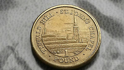 One pound coin Isle of Man Tynwald Hill St John's Chapel Circulated 2015
