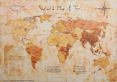 Weltkarte des Tees - World Map of Tea - Painted by Artist - Poster Din A3
