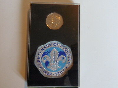 2007 Centenary Of Scouting Mint 50P Coin And Cloth Badge In Presentation Box