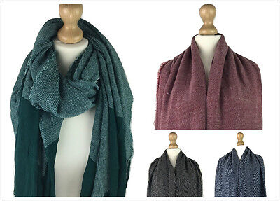 New Ladies Women Contrast Light Weight Large Cotton Blend Scarf Pashmina Snood