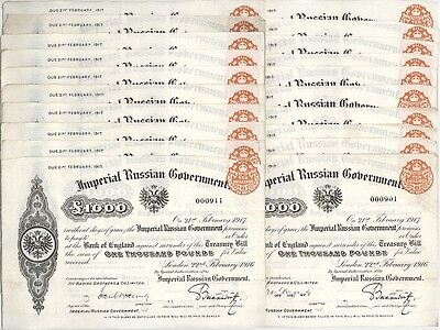 20x £1000 + 20x £500.000 Imperial Russian Government Treasury Bills