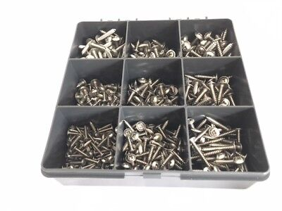 Box of 550 Assorted Trim Screws Stainless Steel Pozi Flange Self Tapping Screws