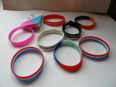 8 x MIXED LOT OF RUBBER CHARITY AND OTHER WRISTBANDS