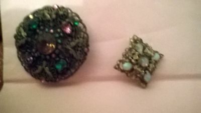 Two Old Brooches 1 Opal Stones 1 Mixed Stones