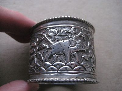 Indian Embossed Silver Napkin Ring, 19th Century