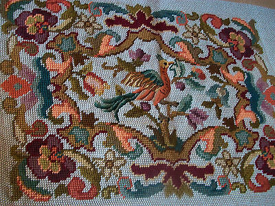 Vintage completed needlepoint tapestry bird with petit point detail
