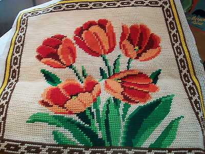Vintage completed needlepoint tapestry picture tulips