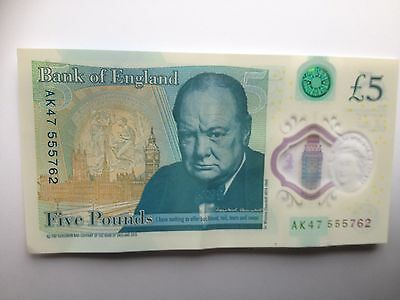 AK47 (555) Serial Number New £5 Polymer Note