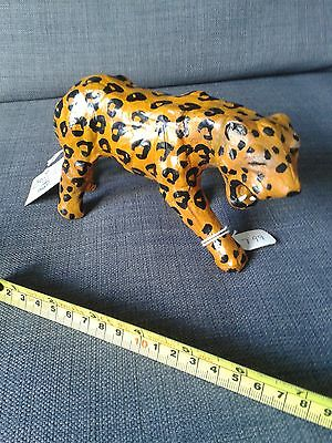 Besmo hand made leather leopard figure