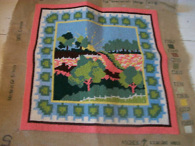 Vintage completed needlepoint tapestry picture landscape