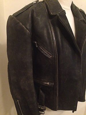 "Mens Retro Vintage Real Leather Biker Jacket Size M Chest 40""."