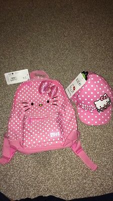 BNWT Marks and Spencer Hello Kitty Rucksack Bag And Hat