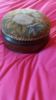 Antique Tapestry   Footstool  Storage opens for  Sewing  Etc