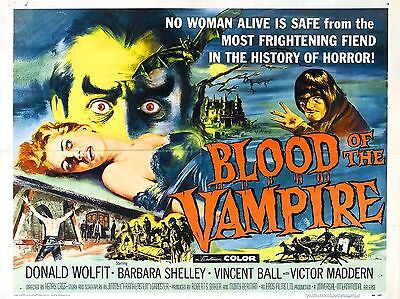 """Blood of the Vampire 16"""" x 12"""" Reproduction Movie Poster Photograph"""