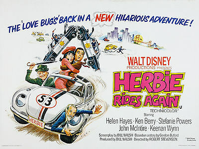 "Herbie Rides Again 1974 16"" x 12"" Reproduction Movie Poster Photograph"