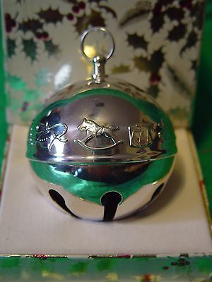 Wallace Silver Plated Sleigh Bell Ball 1974 Festive Toys w/Box
