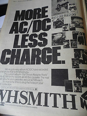 """AC/DC  """"MORE AC/DC LESS CHARGE"""" W.H.Smith advert 1981 full page A3  ADVERT"""