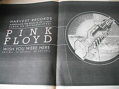 """Pink Floyd Vintage """"wish You Were Here """" A2 Size Album Advert From 1975"""