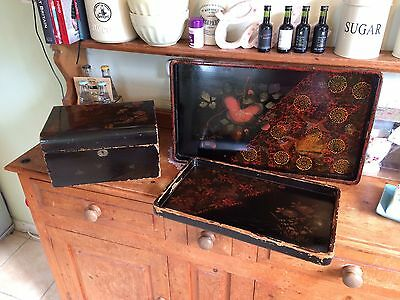 Chinese Black Lacquer Effect Box Painted Top Chinese Storage Box