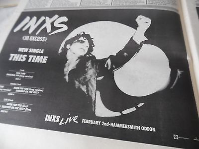 """Inxs  & Michael Hutchins Half Page Advert """"this Time"""" 1986 Live Hammersmith Gig"""