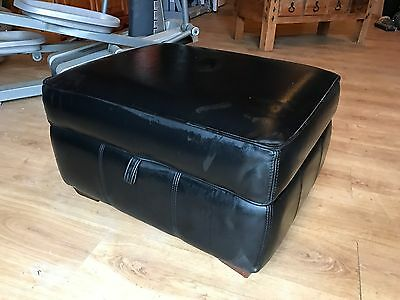 black leather footstool With Storage