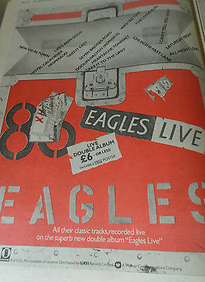 """The Eagles """"live""""  Full Page Press Advert Great Item From 1980"""