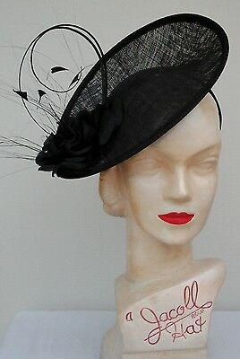 Ladies Whiteley/Maddox Black Fascinator Wedding/Races/Mother of the Bride