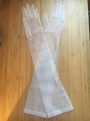 Vintage Long White Sheer Dress Gloves One Size