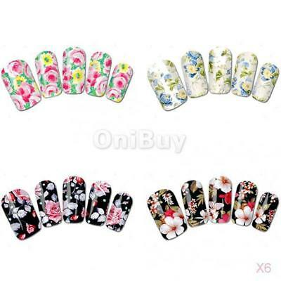 6x 20pcs Mode Faux Ongles French Manicure Autocollant Ongles Bricolage Art 1