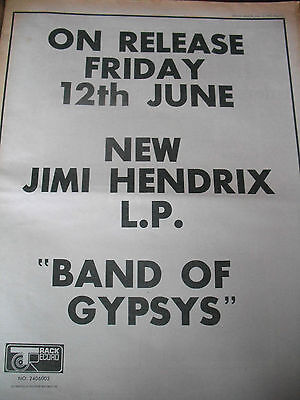 "Jimi Hendrix ""band Of Gipsys"" Full Page Advert From 1970"