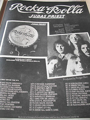 "JUDAS PRIEST ""rocka rolla"" DEBUT ALBUM FULL PAGE A3 ORIGINAL ADVERT FROM 1974"