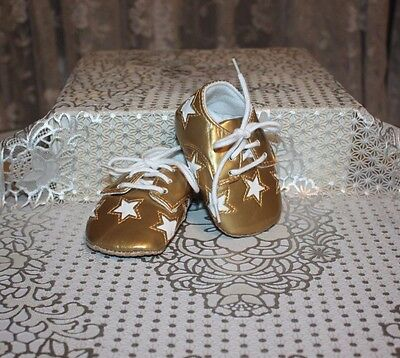 ADORABLE Gold with Stars Pair of Shoes Infant Newborn or Reborn Dolls
